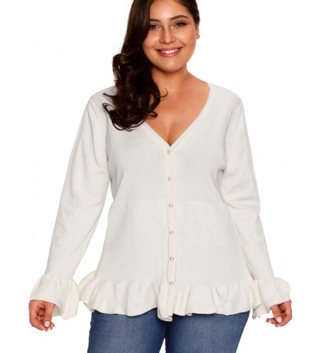 Plus Size Ruffled Button Knit Cardigan