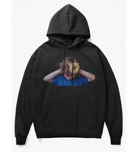 Donut Kid Print Pocket Pullover Fleece Hoodie