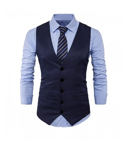Men Business Suit Vest Slim Solid Button Sleeveless Skinny Wedding Waistcoat
