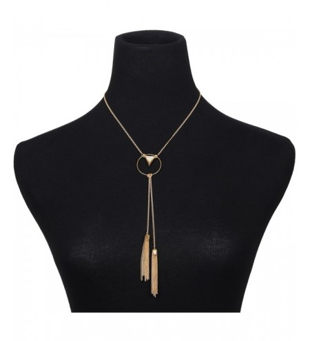 Triangle Pendant Simple Metal Tassel Necklace