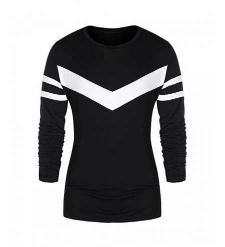Round Neck Contrast Color Striped T-shirt