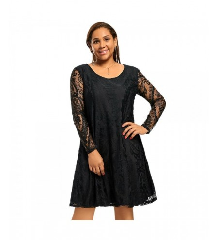 Plus Size Long Sleeve Sheer Lace Dress