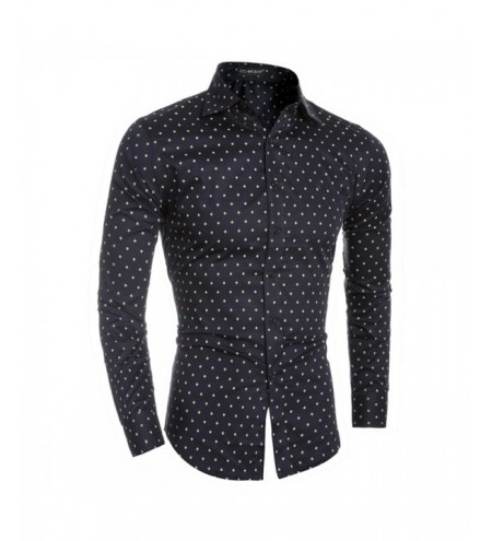 Boutique Cotton Small Aircraft Print Men's Casual Slim Long-Sleeved Shirt