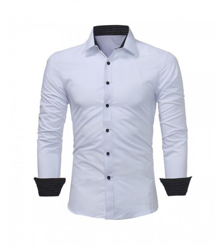 New Classic Dark Striped Embossed Men's Casual Slim Long-Sleeved Shirt