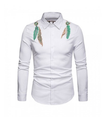 Feather Embroidered Button Up Casual Shirt