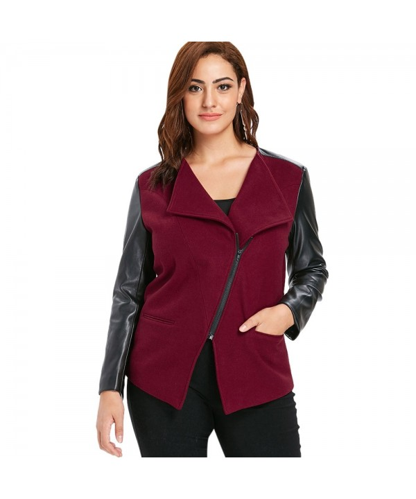 Plus Size Faux Leather Panel Jacket