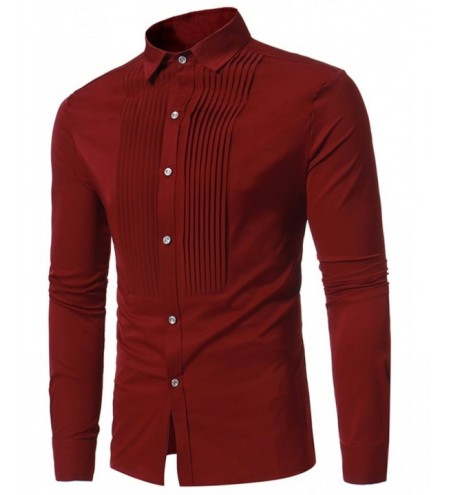 Solid Color Pleated Long Sleeve Shirt