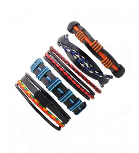 5 PCS Colorful Snake Hand Woven Leather Bracelet