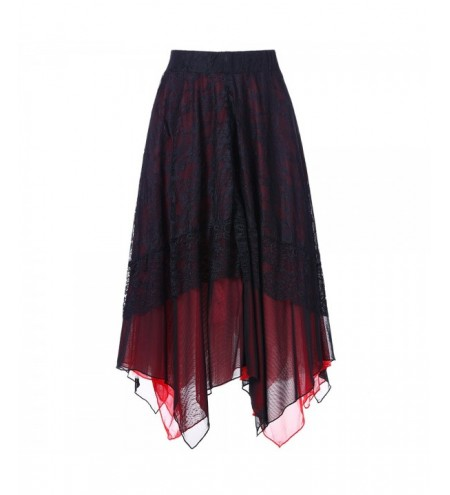 High Rise Lace Panel Handkerchief Skirt