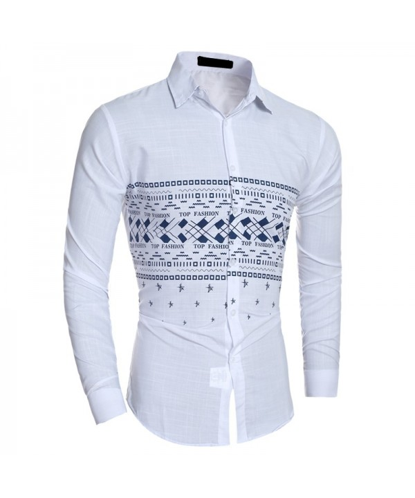 Men's Fashion Casual Slim Stitching Printed Long Sleeved Shirt