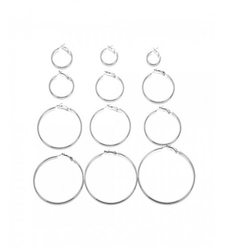 12-PIECE Set of Exaggerated Metal Ring Earrings for Women'S Fashion