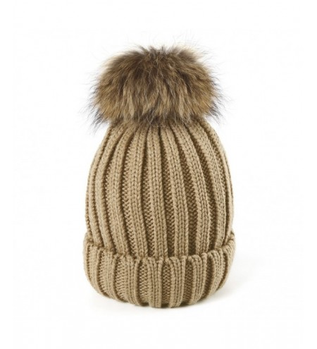 Raccoon fur real fur ball thick warm knit cap
