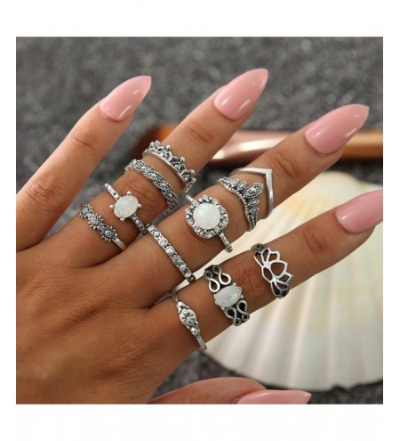 11 PCS/Set Vintage Knuckle Opal Rings for Women Boho Geometric Flower Ring