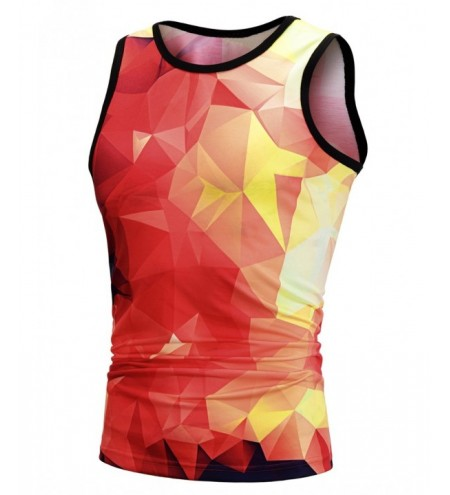 Gradient Plaid Pattern Men Tank Top