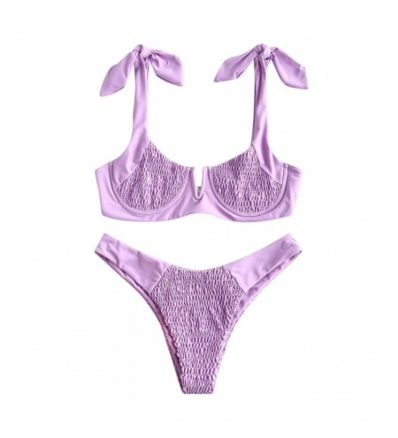 Shirring Knotted Bikini Set Two-piece High Cut Women Swimsuit
