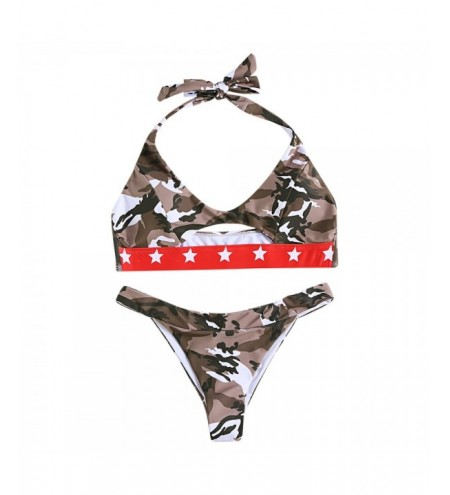 Halter Neck Padded Backless Camouflage Print Cut Out Low Waist Women Bikini Set