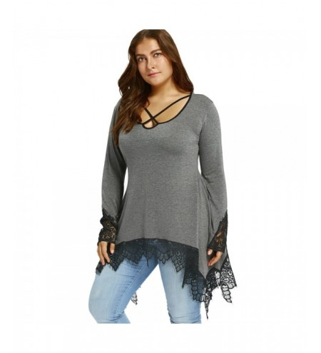 Plus Size Lace Trim Tunic Sharkbite T-shirt