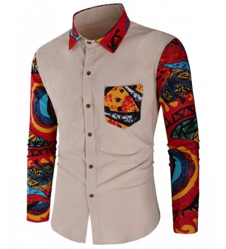 Long Sleeve Abstract Print Patchwork Shirt