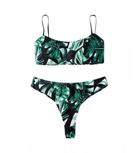 Plants Print Padded Bikini Set Women Swimsuit