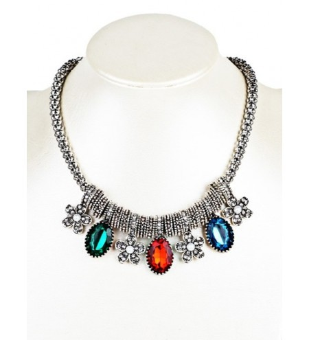 Vintage Flower and Faux Gem Embellished Beads Necklace