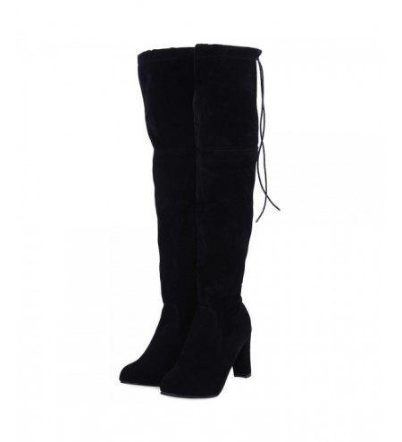 Stylish Solid Color Ladies Thick Heel Over-the-knee Boots