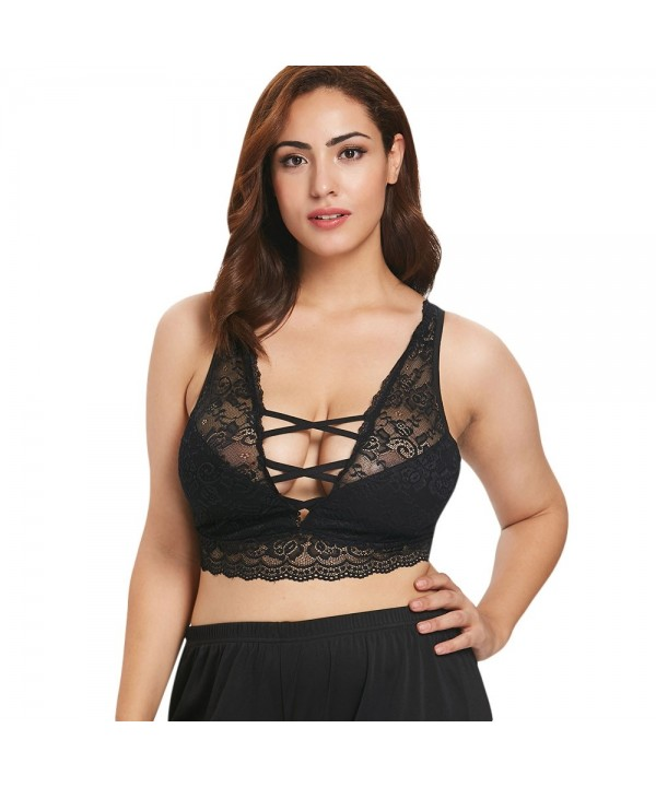 Plus Size Backless Lace Crop Tank Top