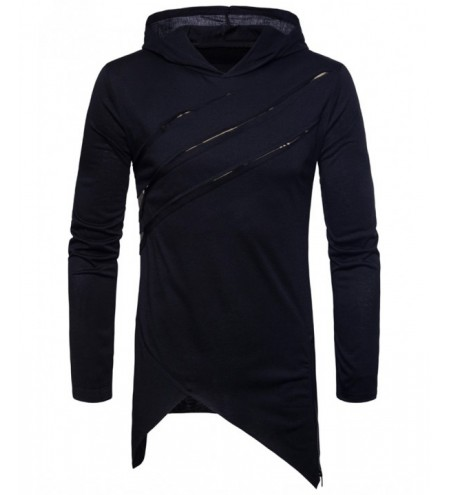 Zipper Asymmetric Hem Hooded T-shirt