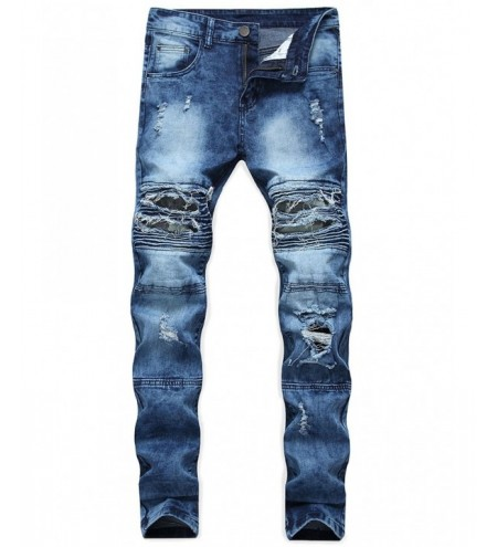 Ripped Camo Panel Faded Wash Biker Jeans