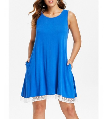Sleeveless Lace Hemline Shift Dress
