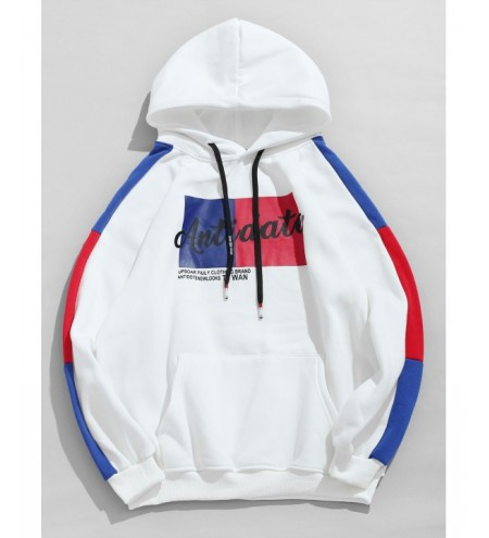 Color Spliced Graphic Pattern Pullover Hoodie