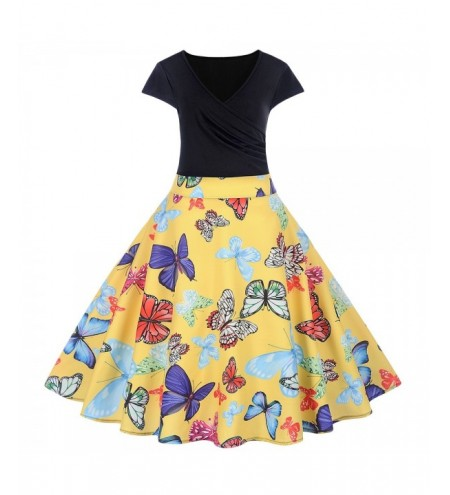 V Neck Cap Sleeve Colorful Print A-line Women Vintage Dress