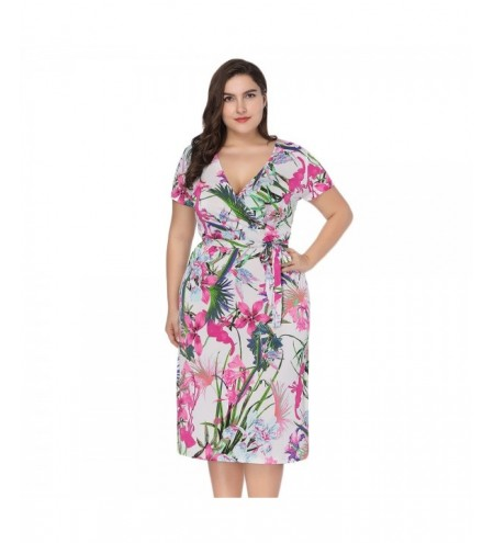 Plunge Neck Short Sleeve Floral Print Belted Plus Size Women Midi Dress