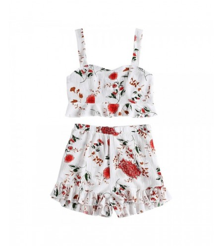 Floral Print Backless Ruffled Crop Top High Waist Shorts Women Two-piece Suit