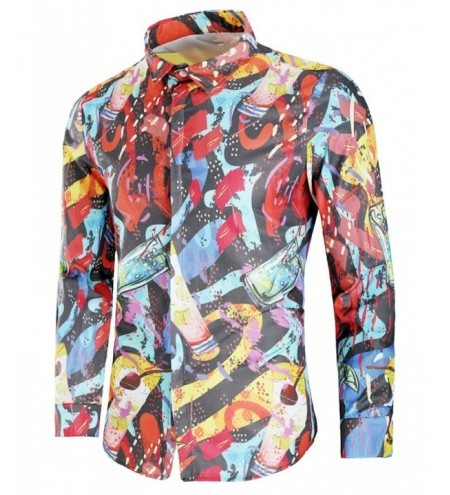 Drink Painting Print Covered Button Shirt