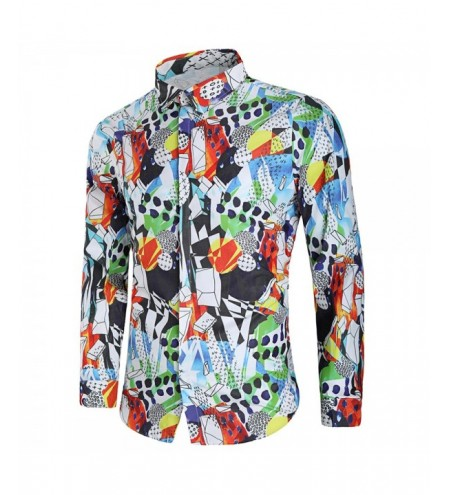 Covered Button Long Sleeve Graphic Shirt