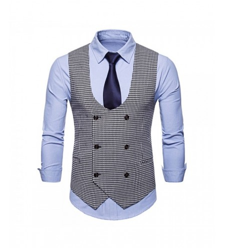 Double Breasted U Neck Houndstooth Waistcoat