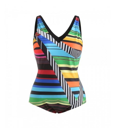 Plus Size Color Blocking V Neck Swimwear
