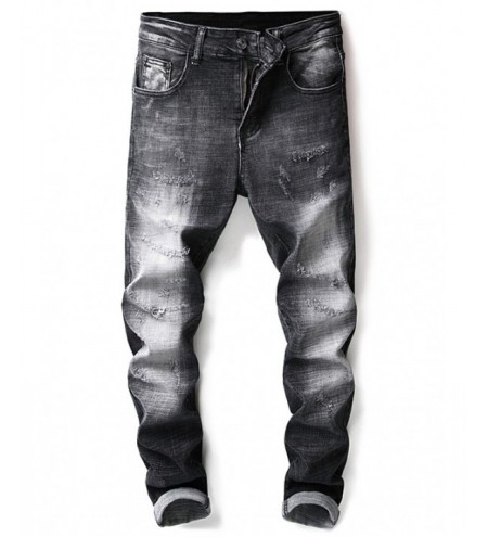 Zip Fly Distressed Denim Jeans