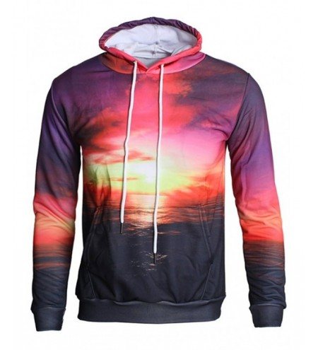 Sunset Sea Print Kangaroo Pocket Hoodie