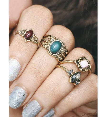 Engraved Faux Gem Oval Finger Ring Set