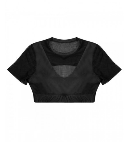 Round Collar Short Sleeve Spliced Mesh Cut Out Padded Crop Top Women Sport Bra
