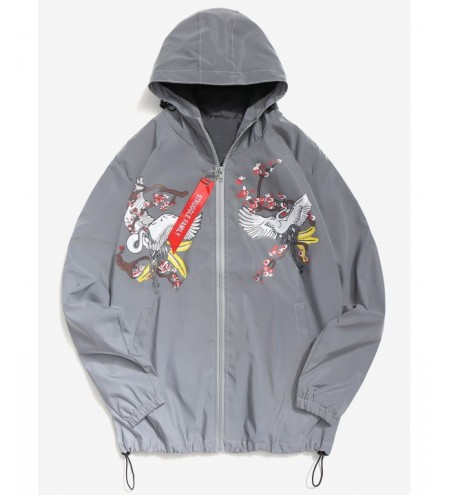 Crane Bird Flowers Print Reflective Light Jacket