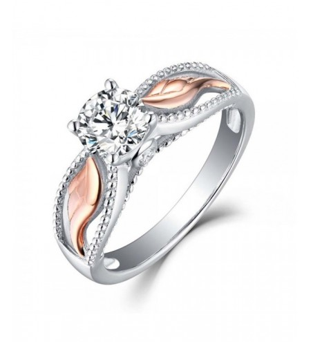 Women Fashion Two Tone 925 Sterling Silver & Rose Gold Filed White Sapphire Wedding