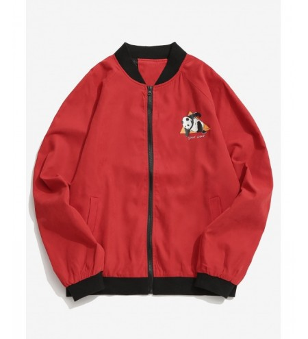 Panda Graphic Raglan Sleeve Bomber Jacket