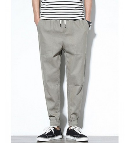 Patch Pockets Drawstring Joggers Pants
