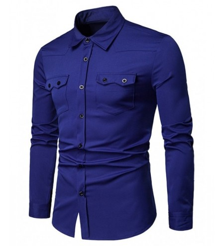 Chest Flap Pockets Casual Long Sleeve Shirt