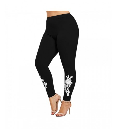 Plus Size Appliqued Jersey Leggings