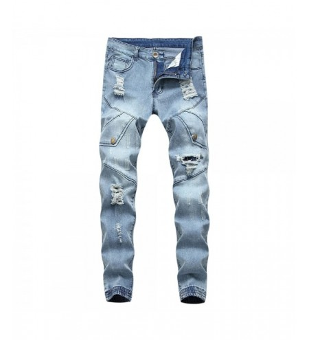 Button Embellish Destroyed Jeans