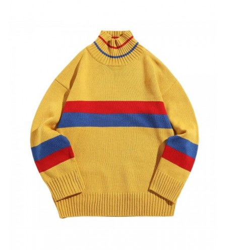 Cross Color Block Stripe Turtle Neck Knitted Sweater