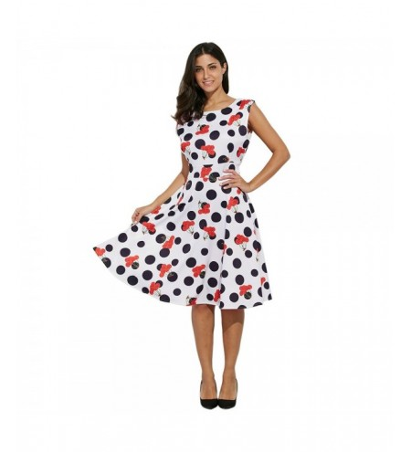 Vintage Style Round Collar Sleeveless Allover Print Dress for Ladies